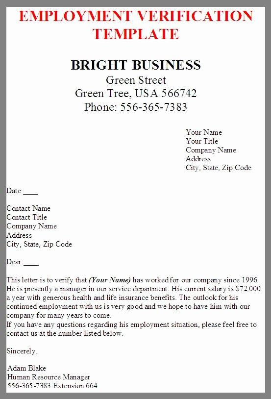 Employment Verification Letter form Fresh Free Printable Letter Employment Verification form