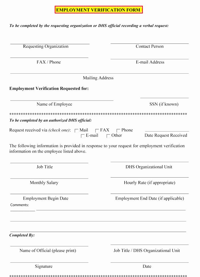 Employment Verification Letter form Inspirational 5 Employment Verification form Templates to Hire Best Employee