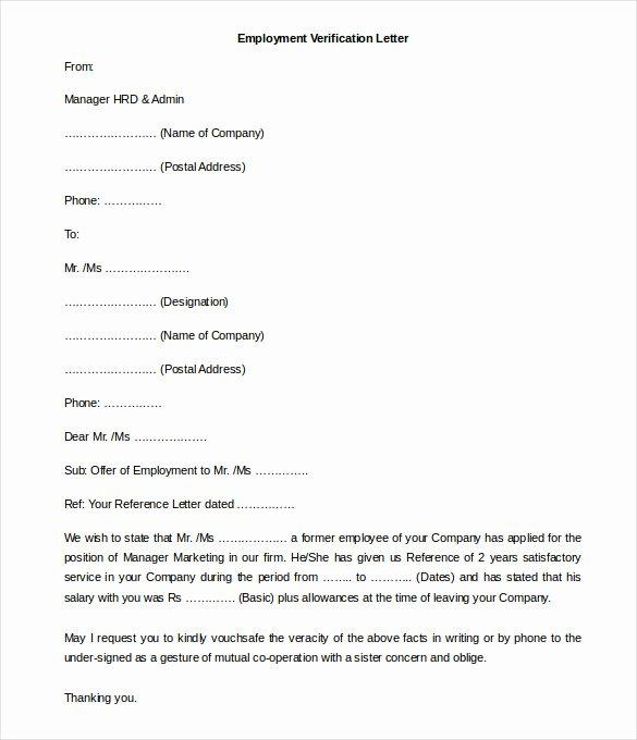 Employment Verification Letter form Luxury 11 Free Employment Letter Template Doc Pdf