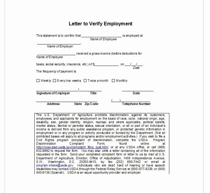 Employment Verification Letter form Luxury Employment Verification Letter top form Templates