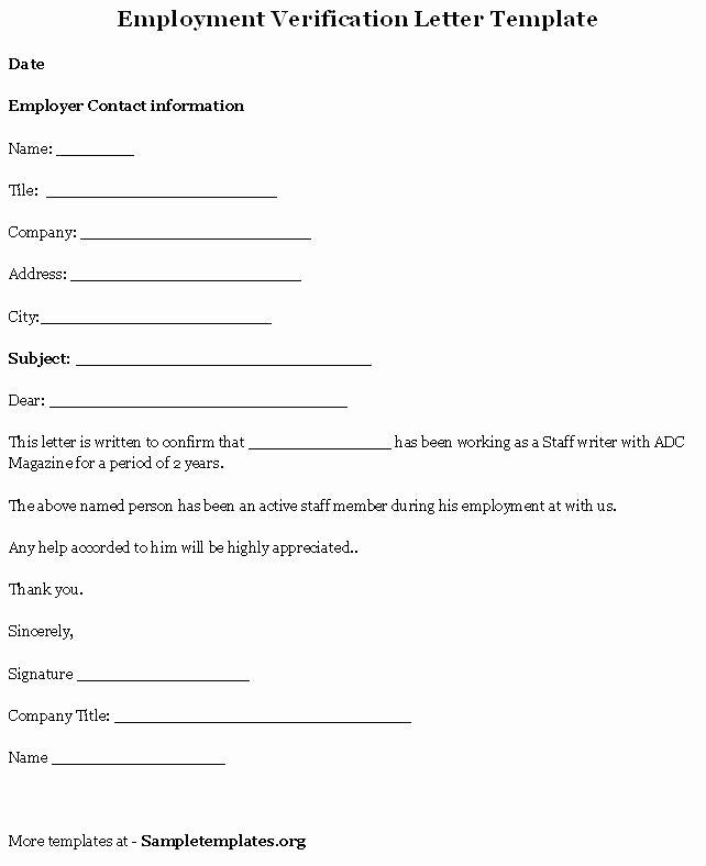 Employment Verification Letter form Unique 9 Verification Of Employment Letter Examples Pdf