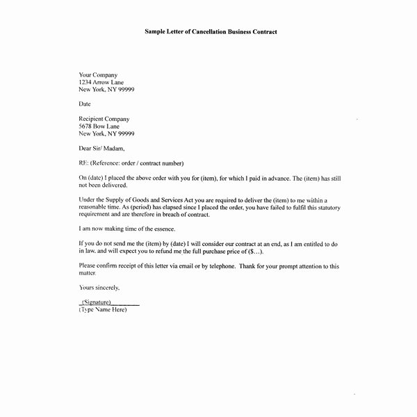 End Of Contract Letter Sample Best Of How to Write A Sample Letter Of Cancellation Business Contract
