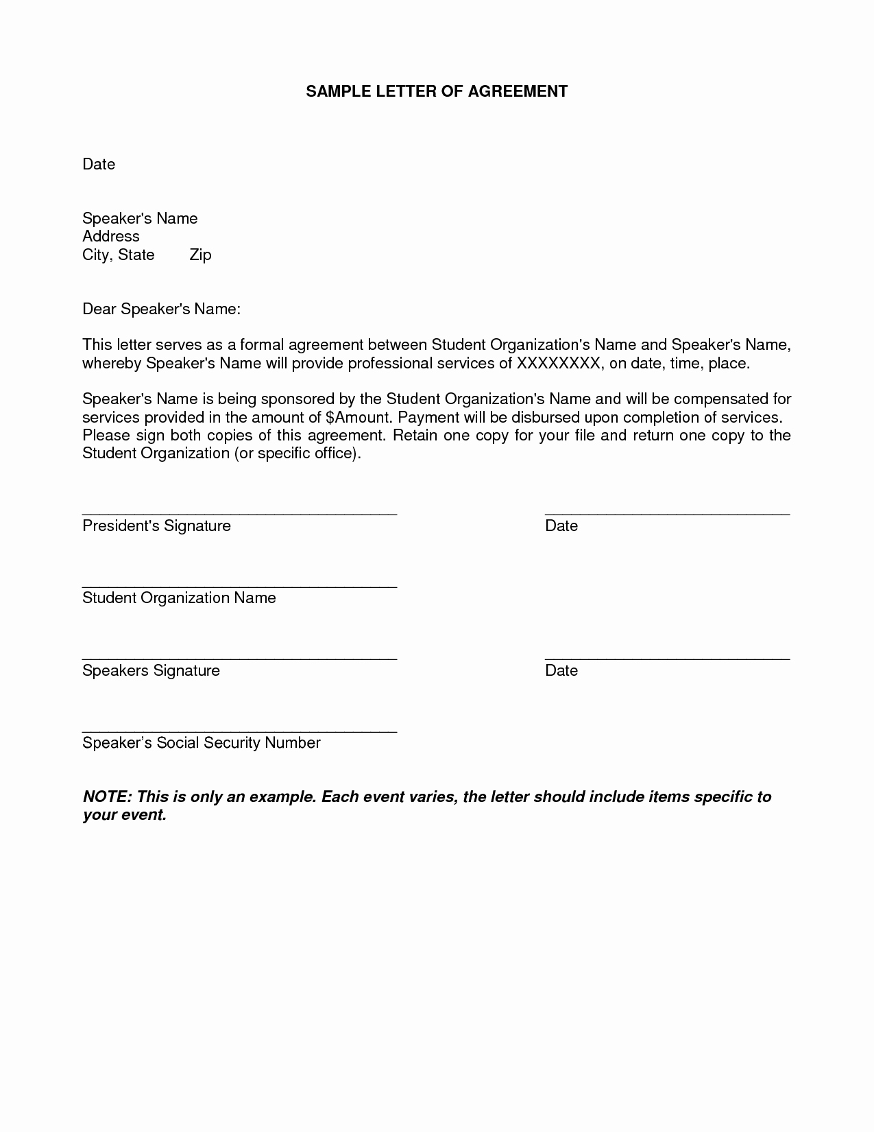 End Of Contract Letter Sample Best Of Letter Agreement Samples Template Seeabruzzo Letter