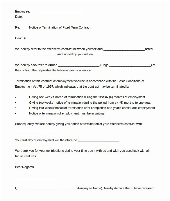 End Of Contract Letter Sample Fresh 21 Contract Termination Letter Templates Pdf Doc