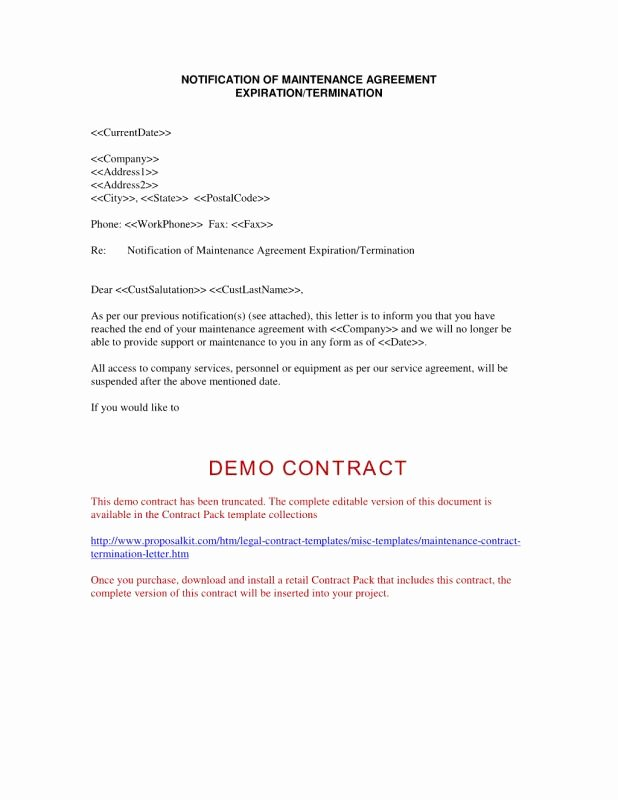 End Of Contract Letter Sample Inspirational Contract Termination Letter