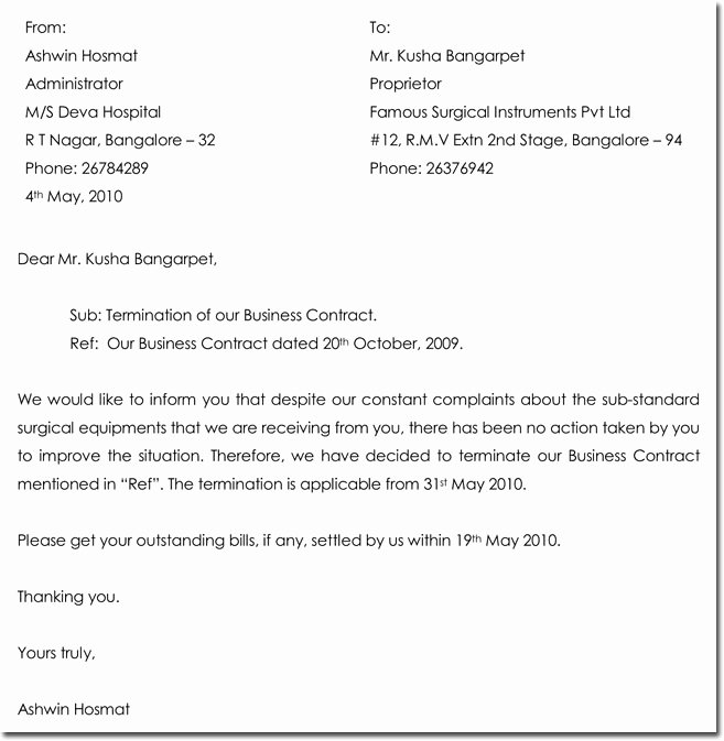 End Of Contract Letter Sample New Contract Termination Letter Samples 12 formats & Templates