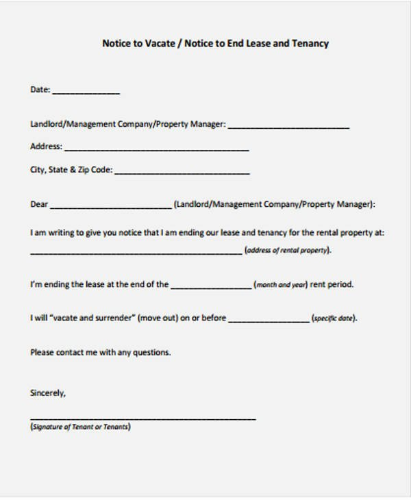 End Of Lease Letters Best Of Lease Letter Templates 8 Free Sample Example format