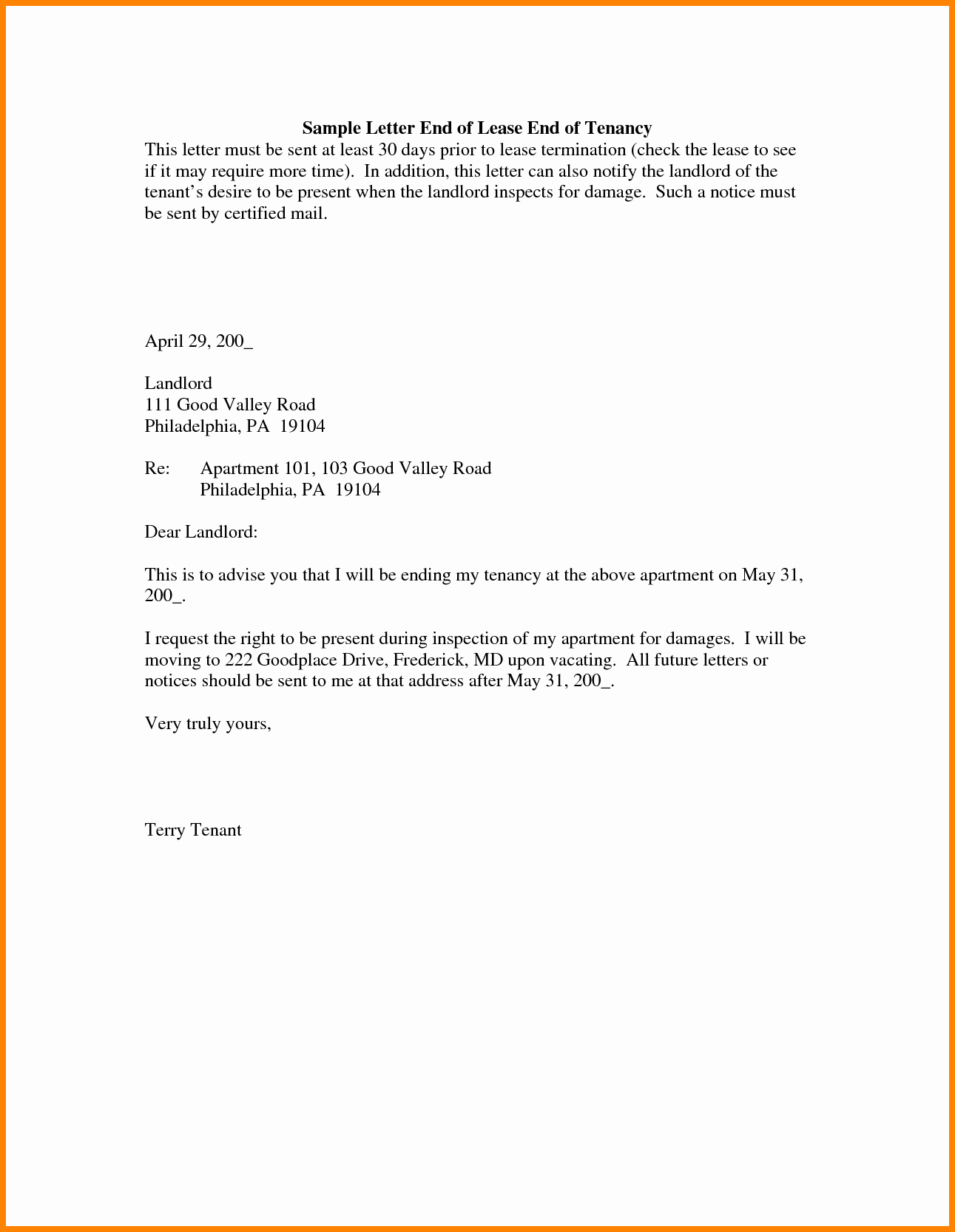 End Of Lease Letters Fresh 5 End Of Lease Letter to Tenant