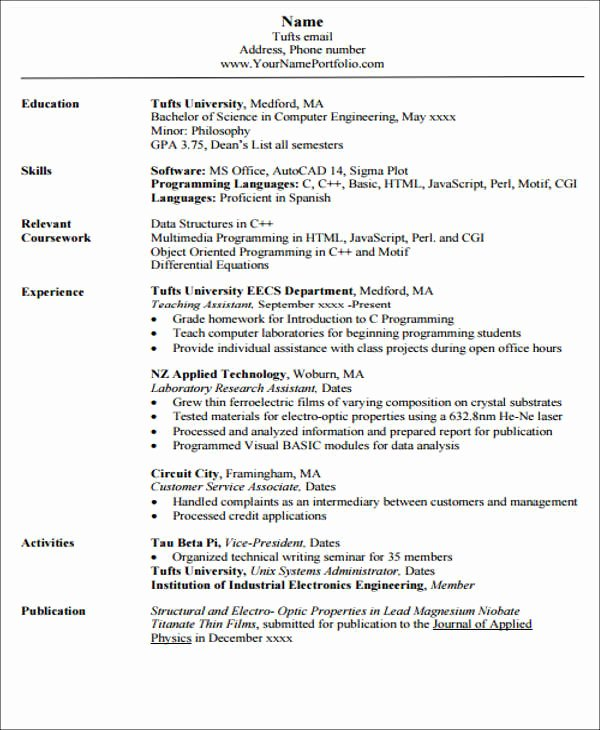 Engineering Student Resume Examples Awesome 20 Engineering Resume Templates In Pdf