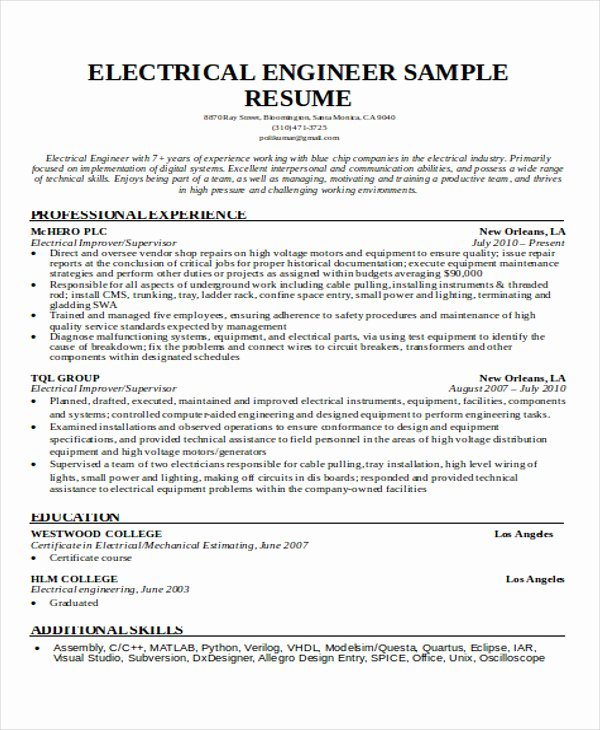Engineering Student Resume Examples Awesome 47 Engineering Resume Samples Pdf Doc