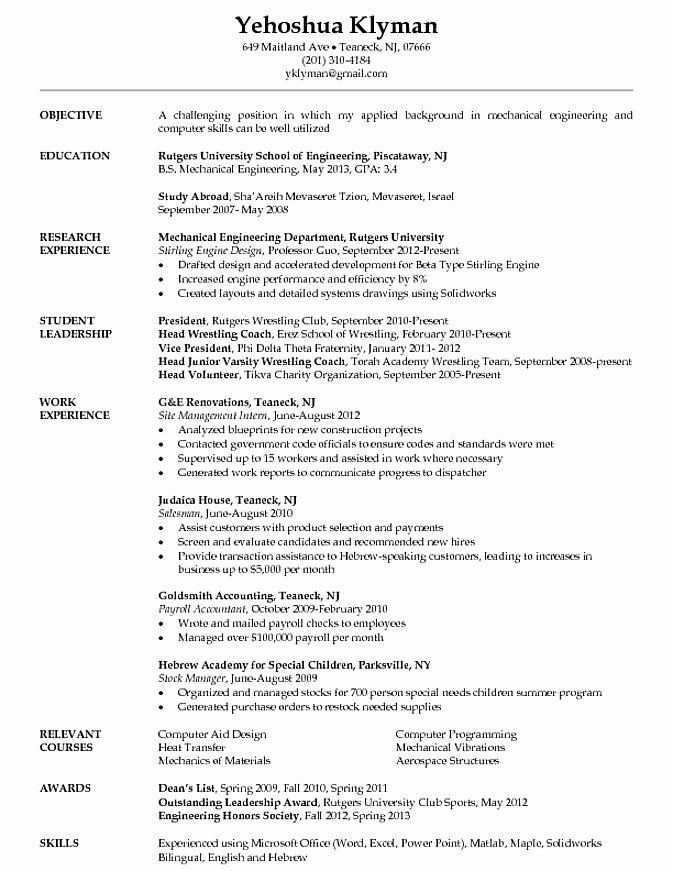 Engineering Student Resume Examples Awesome Engineering Student Resume Google Search