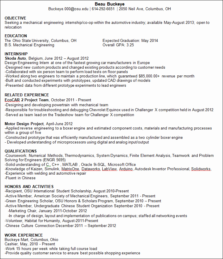 Engineering Student Resume Examples Awesome Resume Tips for International Students