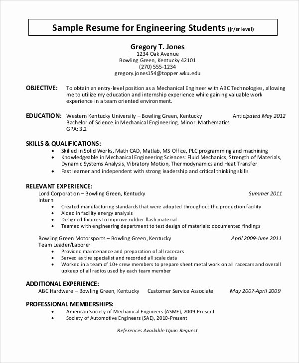 Engineering Student Resume Examples Awesome Sample Objective Statement Resume 8 Examples In Pdf