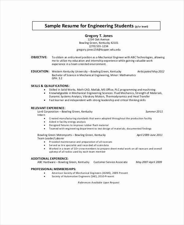 Engineering Student Resume Examples Beautiful 9 Engineering Resume Templates Pdf Doc