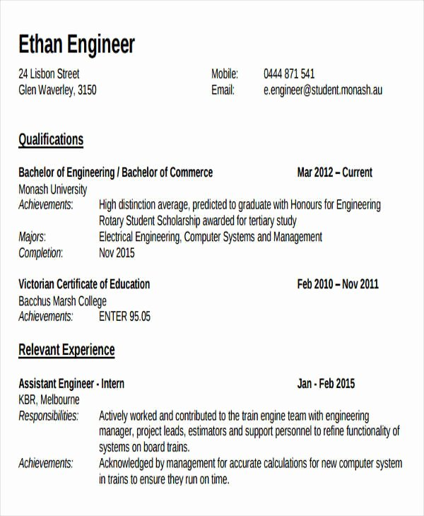 Engineering Student Resume Examples Best Of 47 Engineering Resume Samples Pdf Doc