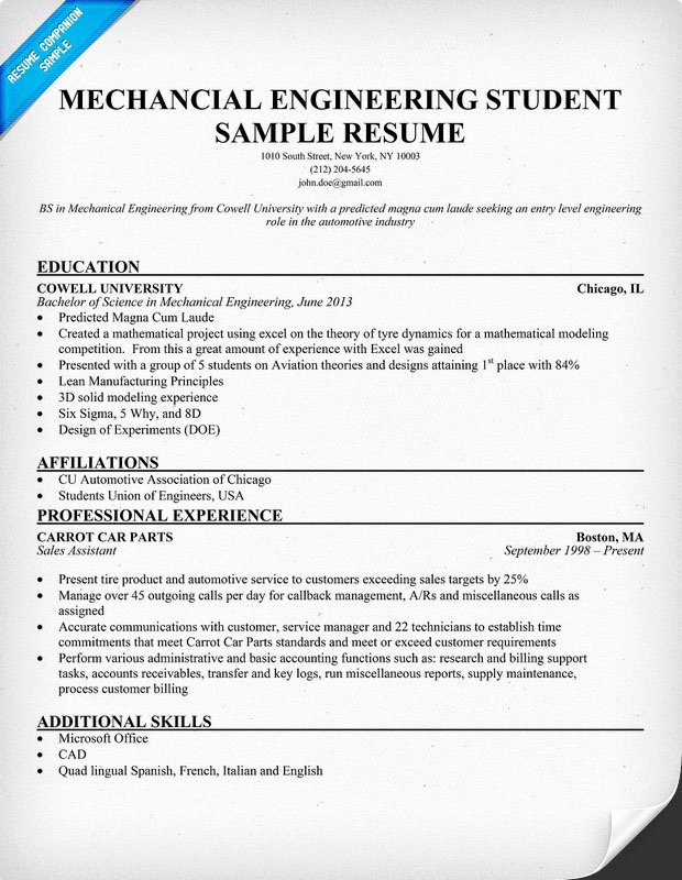 Engineering Student Resume Examples Best Of Resume format February 2016