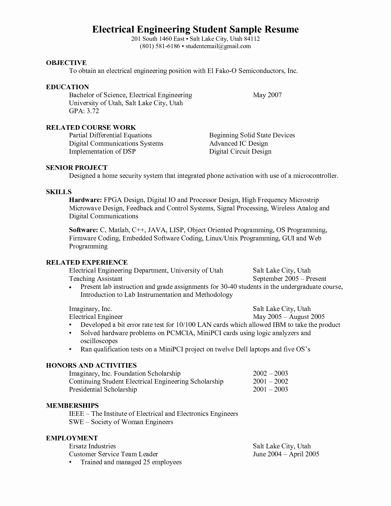 Engineering Student Resume Examples Elegant Electrical Engineering Student Resume