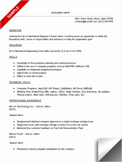 Engineering Student Resume Examples Inspirational Mechanical Engineering Student Resume Sample Limeresumes