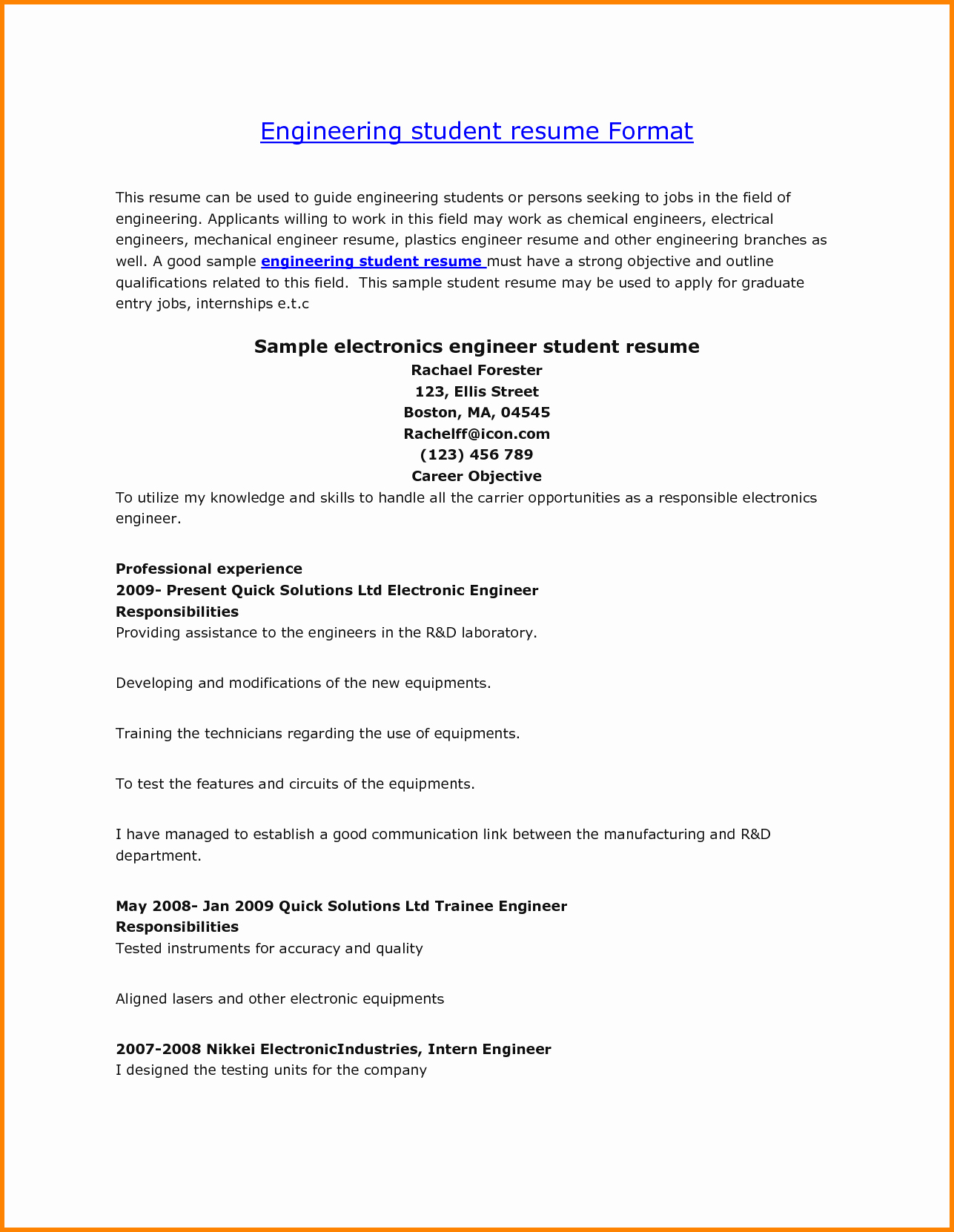 Engineering Student Resume Examples Lovely 7 Engineering Student Resume format Examples