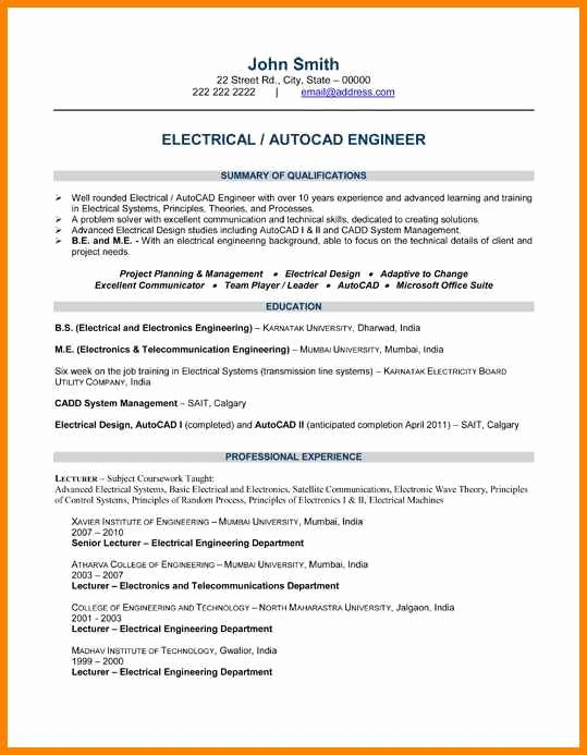 Engineering Student Resume Examples Lovely 8 Electrical Engineering Student Resume