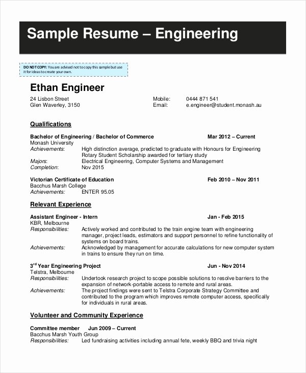 Engineering Student Resume Examples New 9 Student Resume Templates Pdf Doc