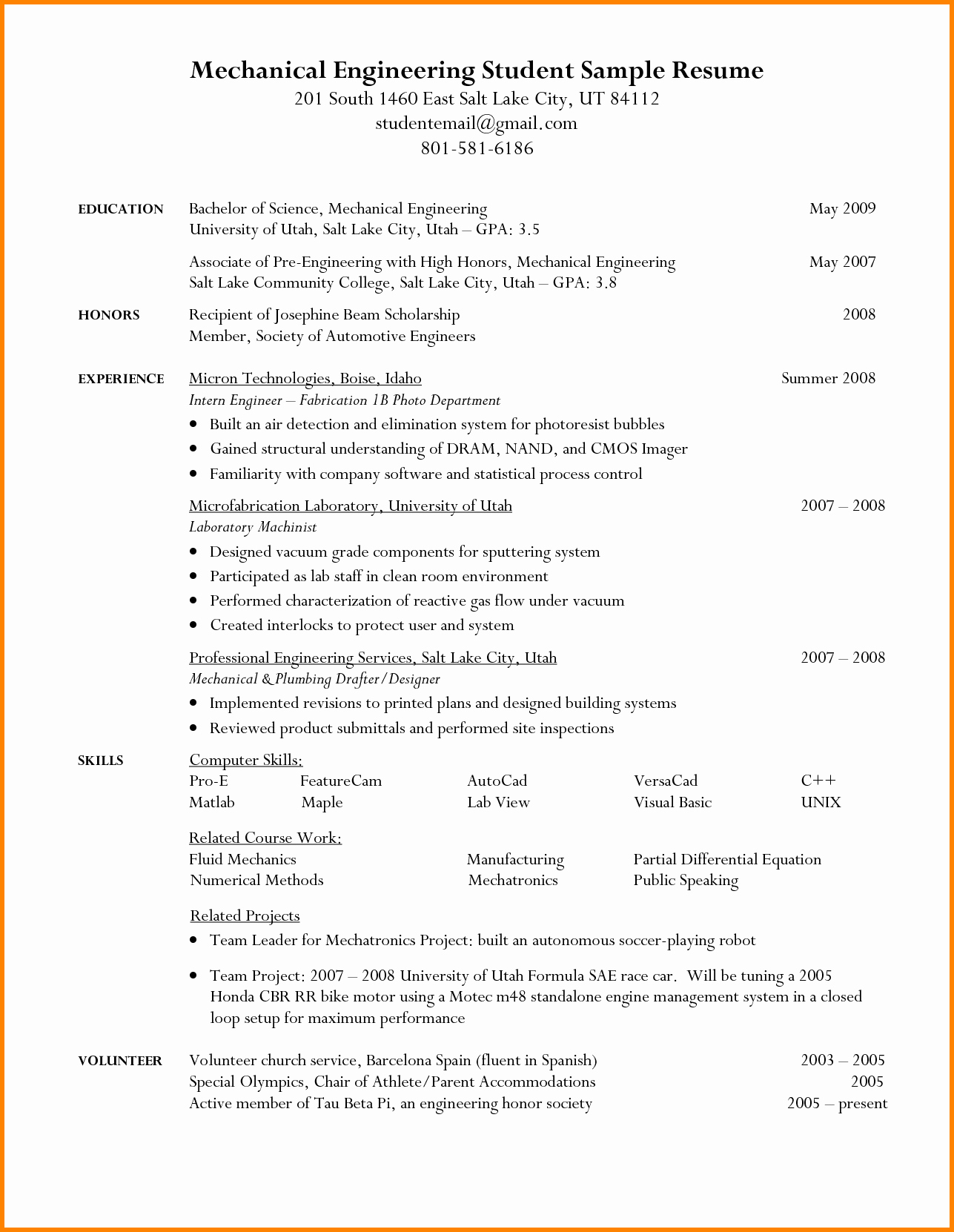 Engineering Student Resume Examples Unique 10 Engineering Student Resume Template