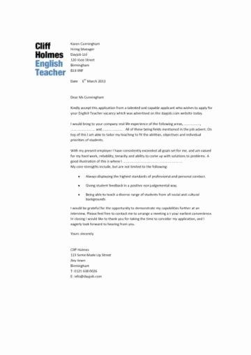 English Teacher Covering Letter Inspirational English Teacher Cv Sample assign and Grade Class Work