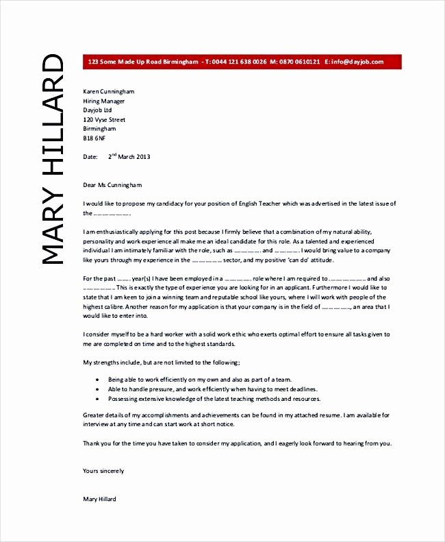 English Teacher Covering Letter Luxury English Teacher Cover Letter Example Teaching Cover