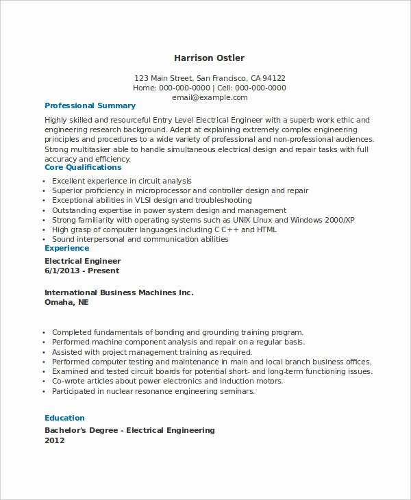 Entry Level Civil Engineer Resume Beautiful Free Engineering Resume Templates 49 Free Word Pdf