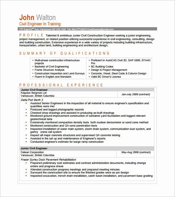 Entry Level Civil Engineer Resume Elegant Civil Engineer Resumes Resume Sample