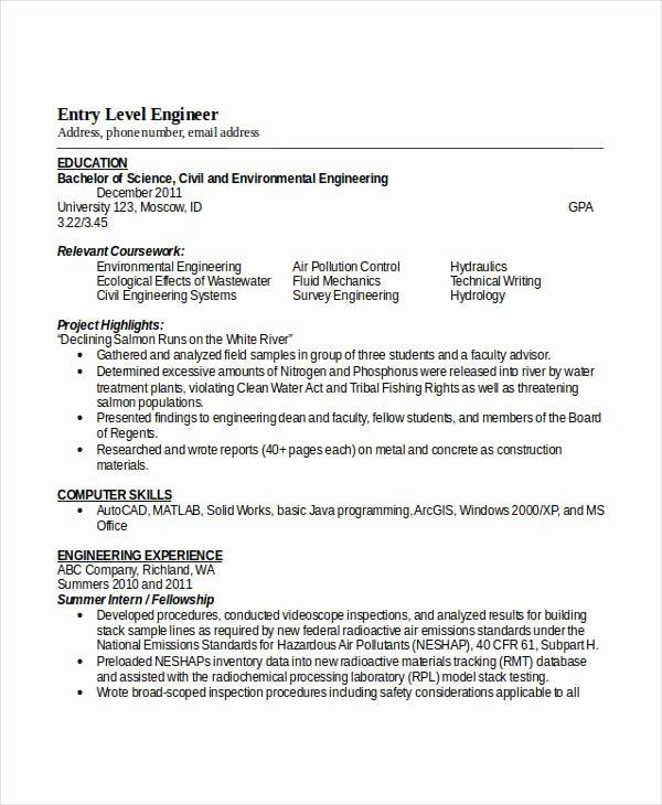 Entry Level Civil Engineer Resume Elegant Engineering Resume Template 32 Free Word Documents