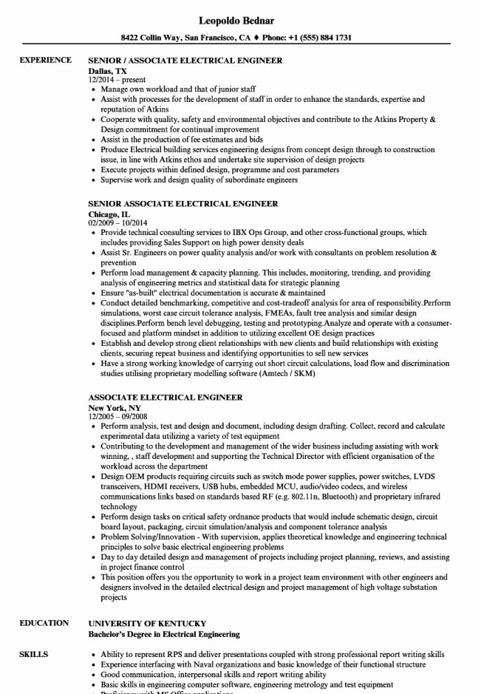 Entry Level Civil Engineer Resume Fresh Electrical Engineer Resume Objective
