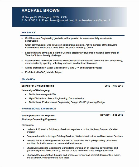 Entry Level Civil Engineer Resume Inspirational Civil Engineer Resumes Resume Sample