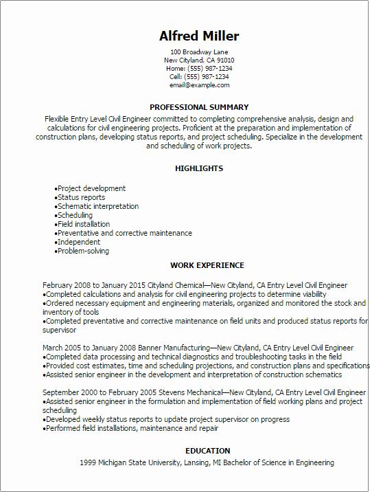 Entry Level Civil Engineer Resume Inspirational Professional Entry Level Civil Engineer Resume Templates