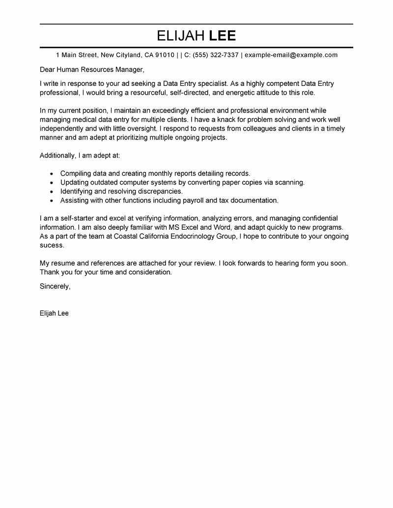 Entry Level Cover Letter Example Inspirational Best Data Entry Cover Letter Examples