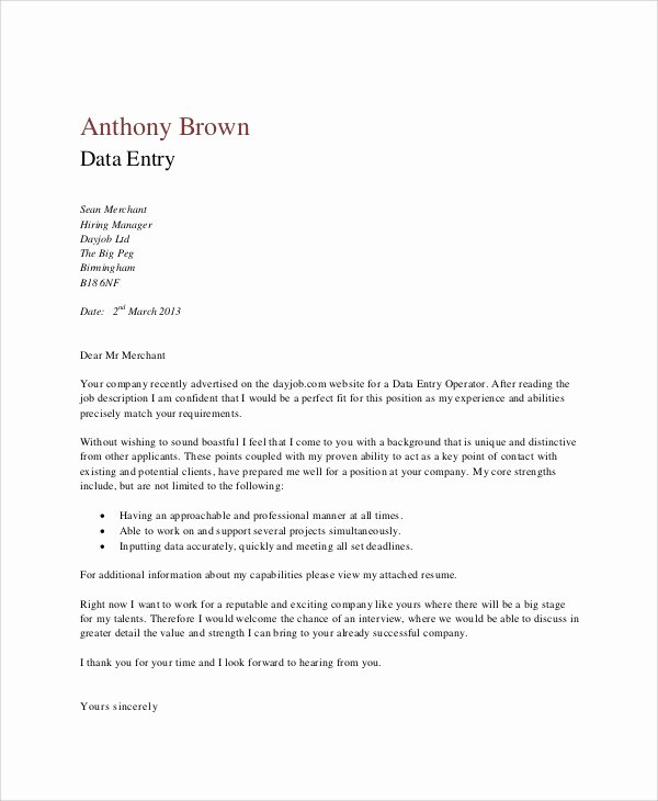 Entry Level Cover Letter Samples Lovely 4 Data Entry Cover Letters Examples In Word P