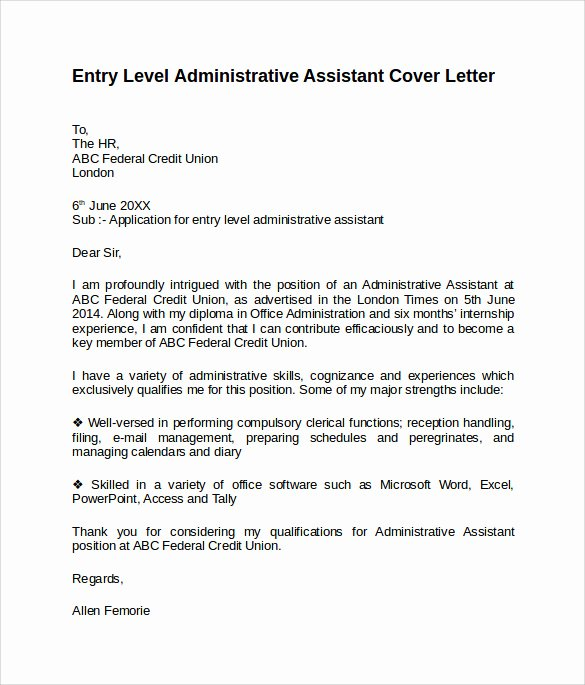 Entry Level Cover Letter Samples Unique Entry Level Cover Letter Templates 9 Free Samples