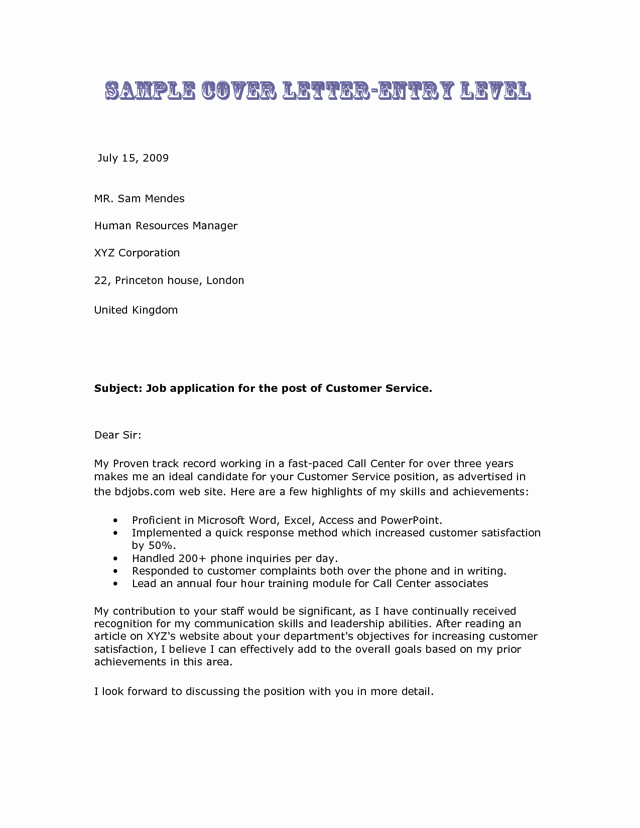 Entry Level Cover Letters Examples Awesome Entry Level Cover Letter Examples