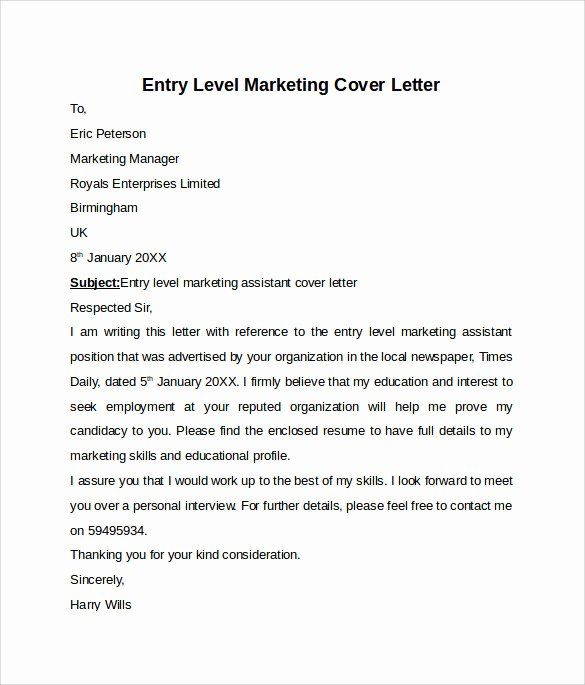 Entry Level Cover Letters Examples Inspirational Entry Level Cover Letter Templates 9 Free Samples