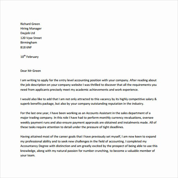 Entry Level Cover Letters Examples New Entry Level Cover Letter Templates 9 Free Samples