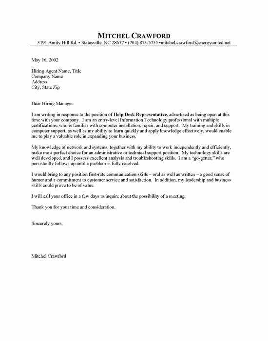 Entry Level Cover Letters Examples Unique Entry Level Helpdesk Cover Letter Sample Resumes