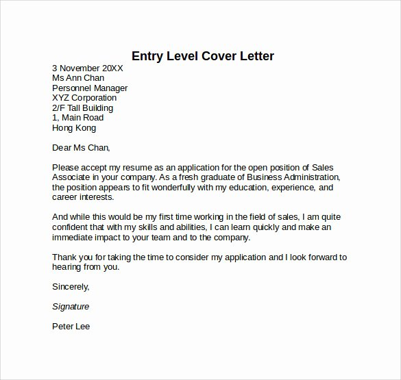 Entry Level Cover Letters Samples Awesome Entry Level Cover Letter Templates 9 Free Samples