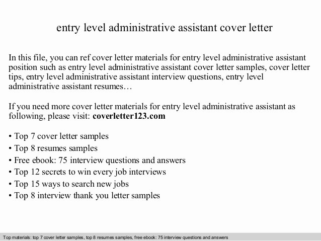 Entry Level It Cover Letter Inspirational Entry Level Administrative assistant Cover Letter