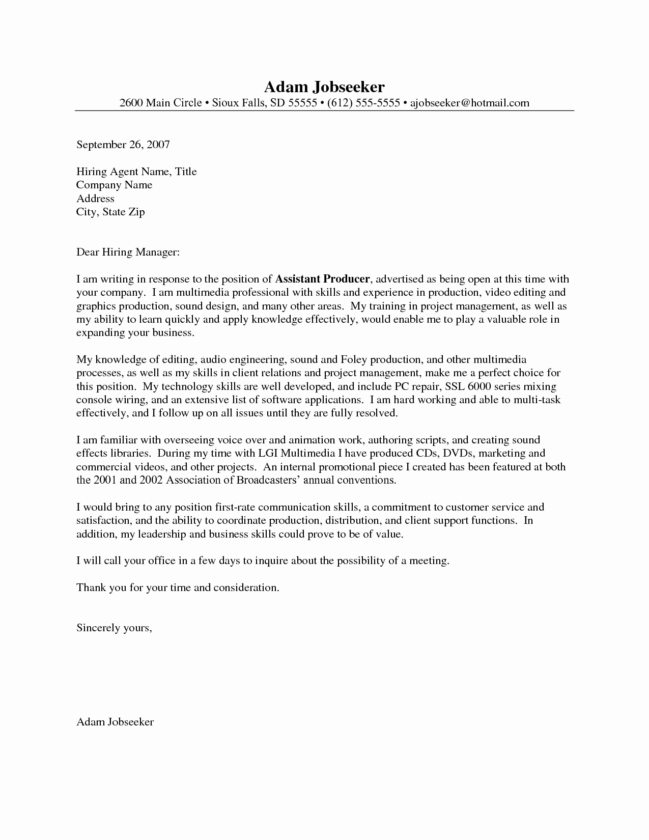 Entry Level It Cover Letter Inspirational Entry Level Cover Letter Example Job