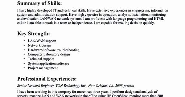 Entry Level Network Engineer Resume Awesome 9 Best Best Network Engineer Resume Templates & Samples
