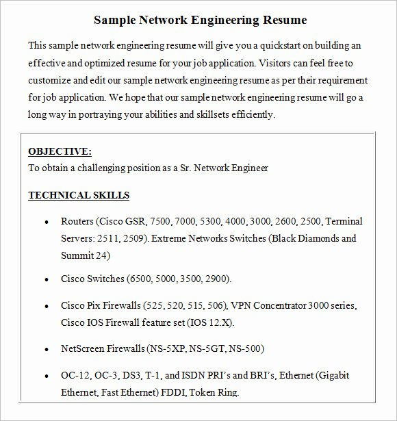 Entry Level Network Engineer Resume Awesome Entry Level Network Engineer Resume
