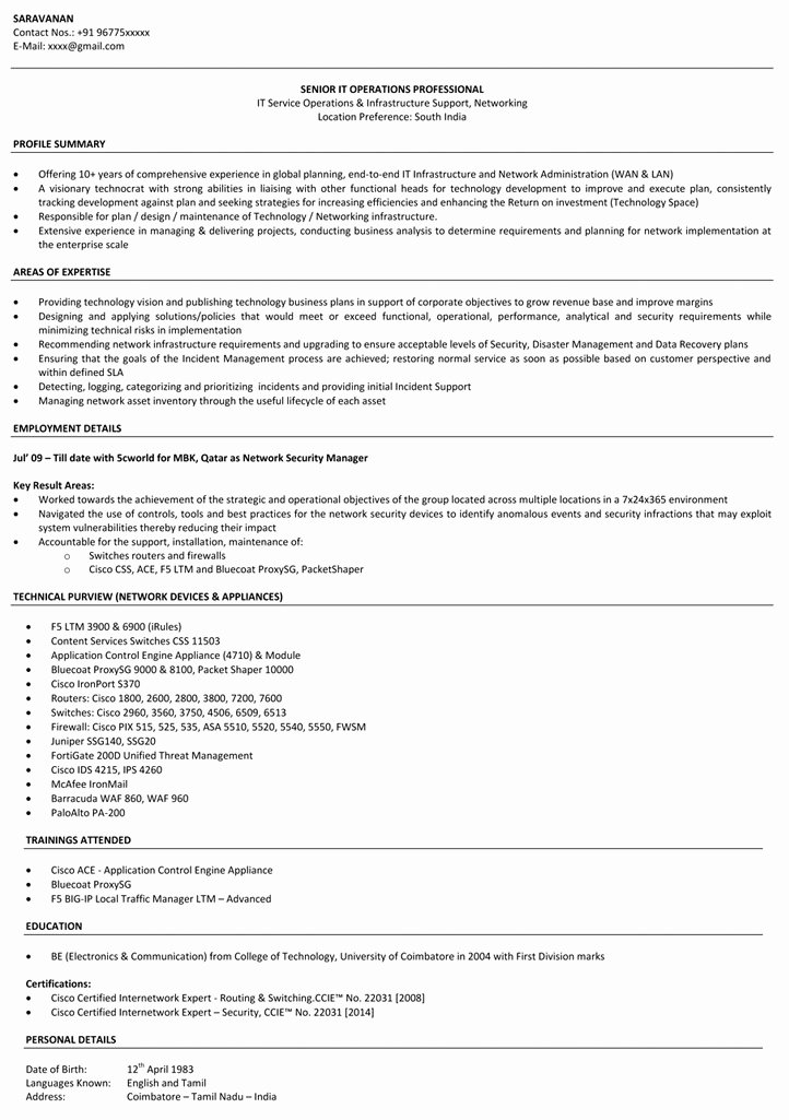 Entry Level Network Engineer Resume Awesome Network Engineer Resume