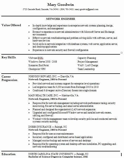 Entry Level Network Engineer Resume Best Of Network Engineer Resume for Freshers Resume Ideas