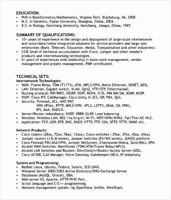 Entry Level Network Engineer Resume Inspirational Networking Engineer Resume format