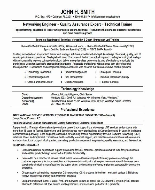 Entry Level Network Engineer Resume Lovely Network Engineer Resume